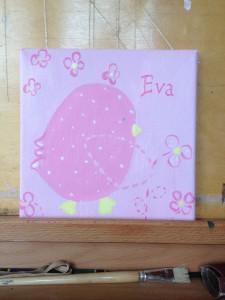 Teunie,Eva,2015, acryl verf op doek, 20 x 20 cm.